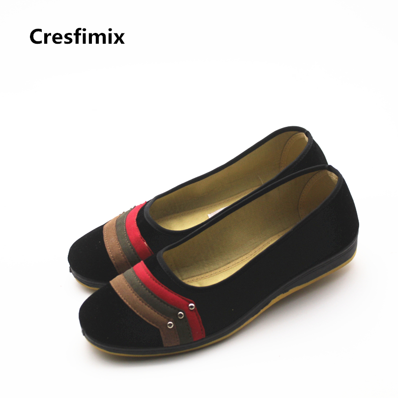 Cresfimix women fashion soft & comfortable slip on flat shoes lady casual high quality canvas shoes woman retro dance shoes cresfimix women fashion black canvas slip on flat shoes female cool comfortable spring