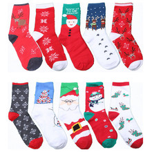 5 Pairs Cozy Warm Soft Women Girls Xmas Santa Elk Snowman Printed Cotton Women's Socks New Year Christmas Festive Gift Socks