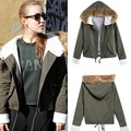 Winter Jacket Women 2016 Army Green Short Parka Coats Real Faux Fur Collar Good quality Faux Fur Inner Hooded Outwear