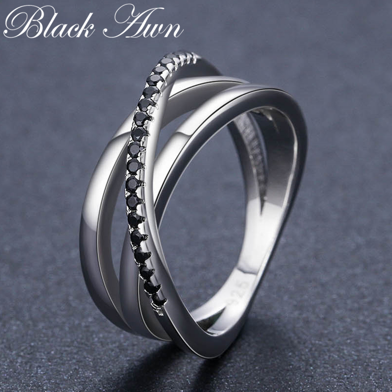 [BLACK AWN] 925 Sterling Silver Jewelry Wedding Rings For Women Hollow Finger Ring Femme Bijoux Bague G006