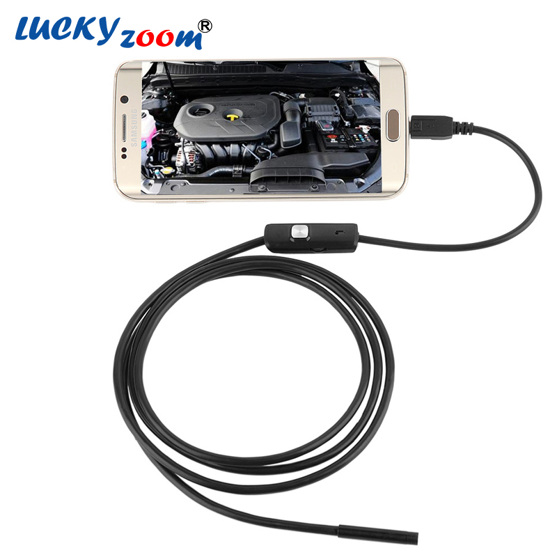Luckyzoom 130W 720P On PC 7mm lens Inspection Endoscope Pipe 1M For OTG Android Phone USB Microscope Video Camera W/ LED Light