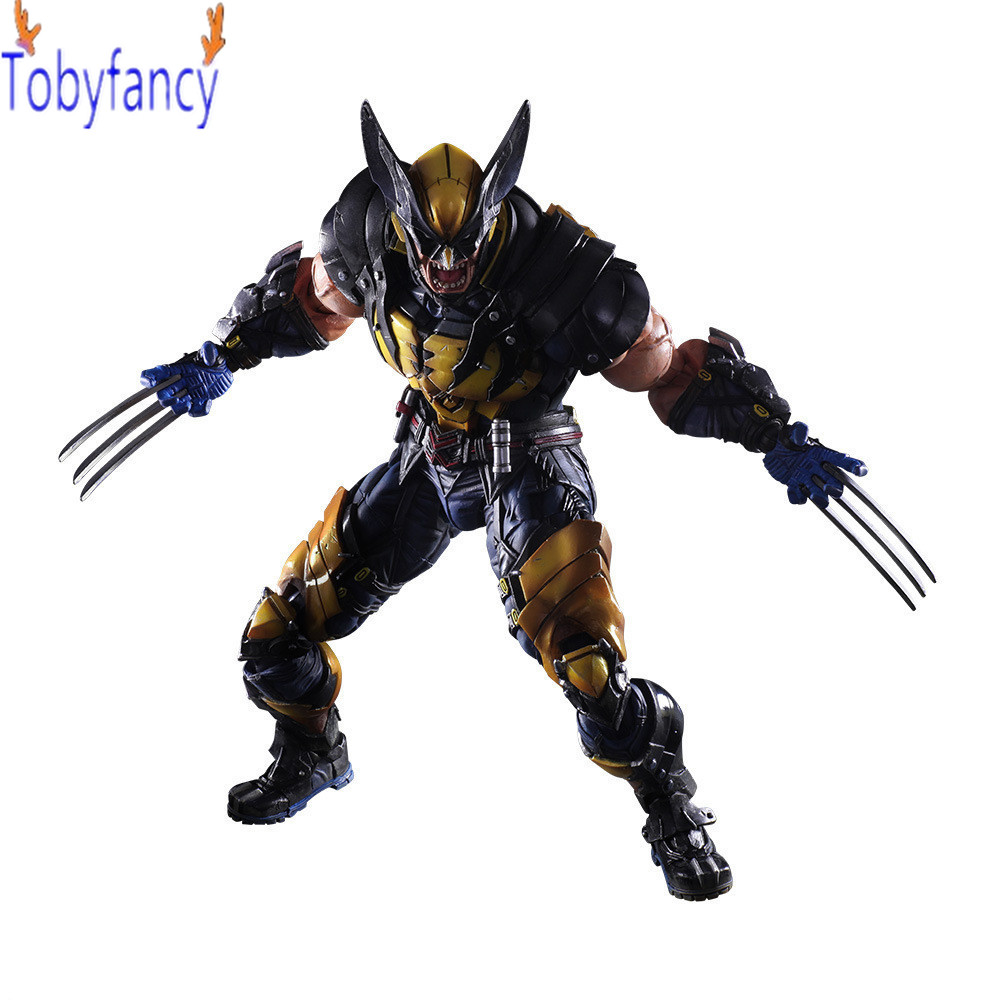 Wolverine Play Arts Kai PVC Action Figure LOGAN X-MEN Anime Collectible Model Toy 260mm Wolverine Playarts Kai 7 marvel legends series x men wolverine claws logan action figure anime doll toy collectible model toys for children gift 18cm