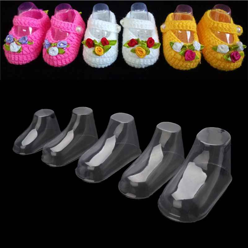 10Pcs Clear Plastic Baby Feet Display Baby Booties Shoes Socks Showcase Feet Display Half Boots Shoes Transparent PVC