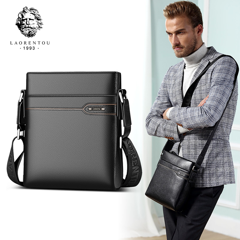 LAORENTOU Hombres de cuero genuino Business Messenger Bag Side - Bolsos