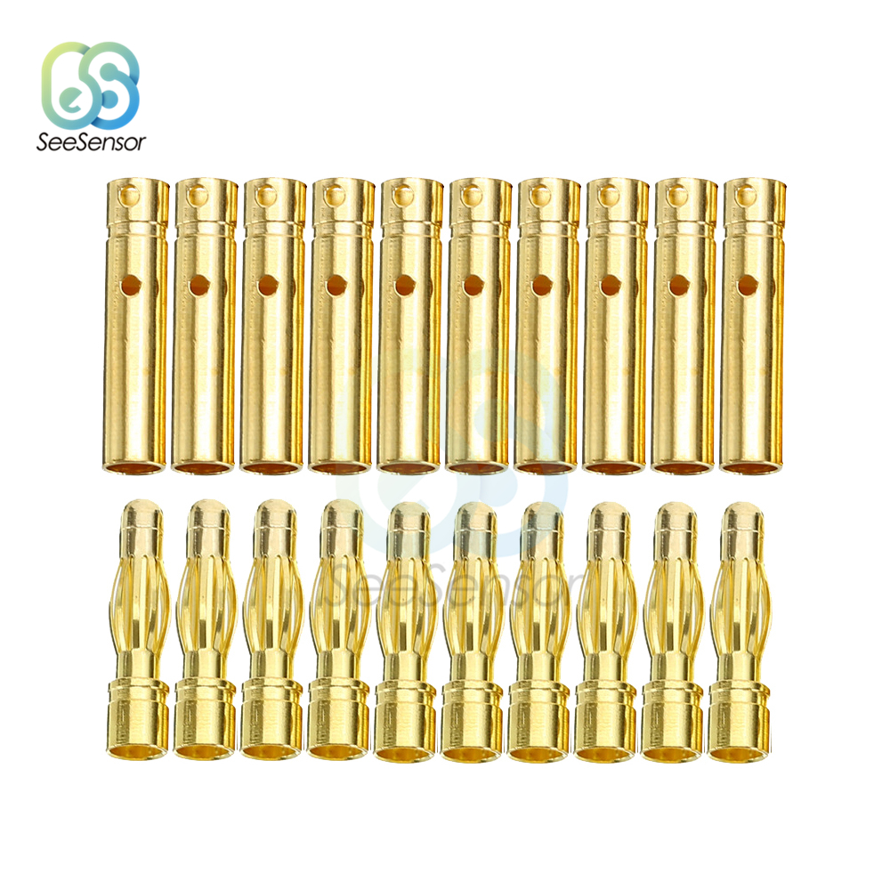 10Pair 20pcs 3.5mm Gold-plated Bullet Banana Plug Male Female Bullet Banana Connector For RC Battery Motor