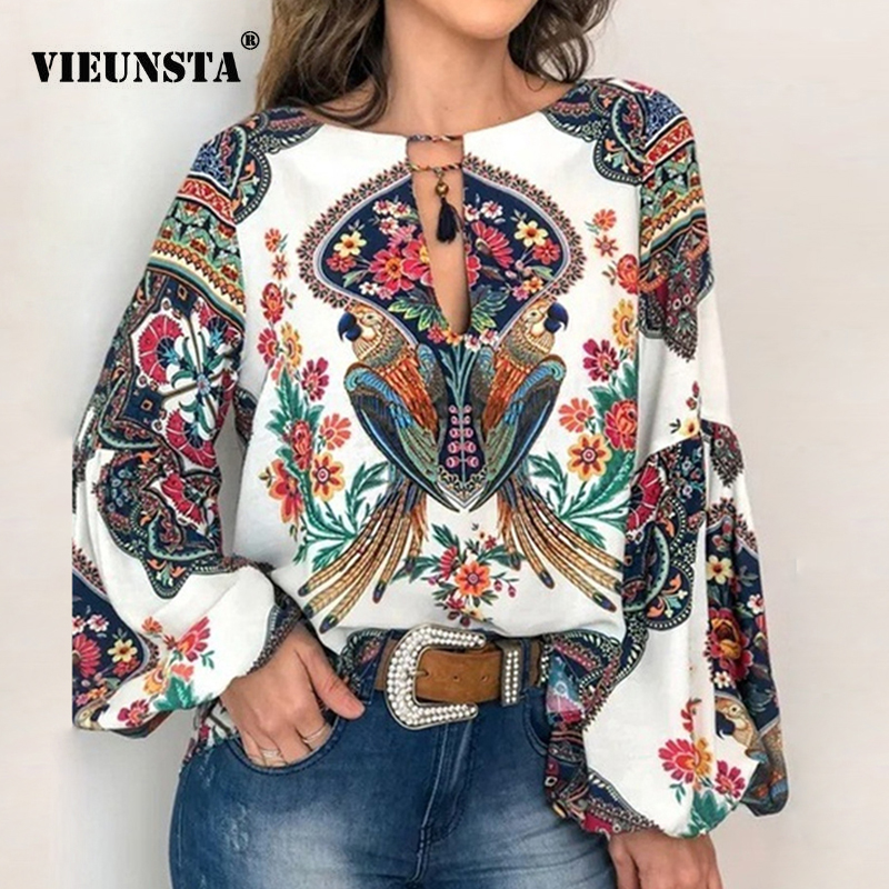 VIEUNSTA 2019 Boho Blouse Floral Print Lantern Sleeve Shirt Sexy Lace-up Tassel O Neck Women Tops Spring Summer Chic Blouses 5XL(China)