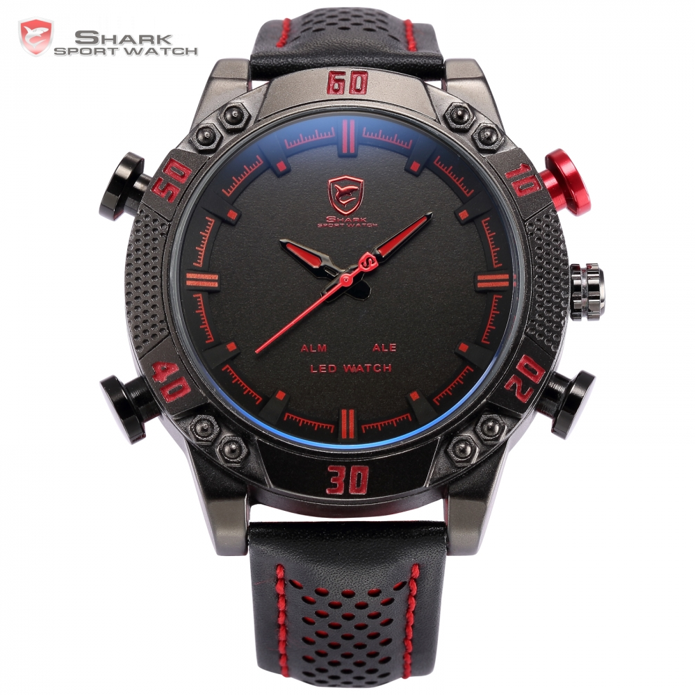 Kitefin Shark Sport Watch Luxury Brand Sport Watches Men Relogio Dual Time Alarm Leather Strap Military Digital Watch / SH261 splendid brand new boys girls students time clock electronic digital lcd wrist sport watch