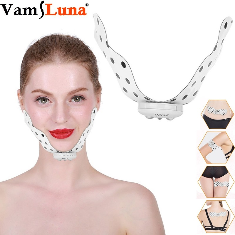 Silicone Electric V Face Thin Instrument Mini Facial Massage Patch Weight Loss Lifting Firming Six Modes Ten File Super Strength