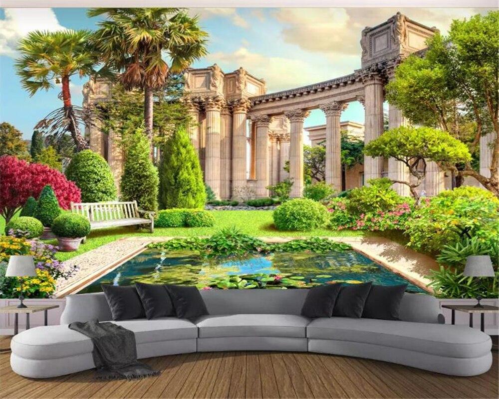 Beibehang Custom Wallpaper 3D European Roman Column Garden Landscape 3d Mural TV Sofa Background Wall 3d Wallpaper Papier Peint