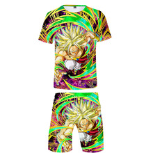 Man Fashion T Shirt Sets Dragon Ball shirt and shorts Summer Super Broly Funny Cartoon 3D Print Clothes 4XL