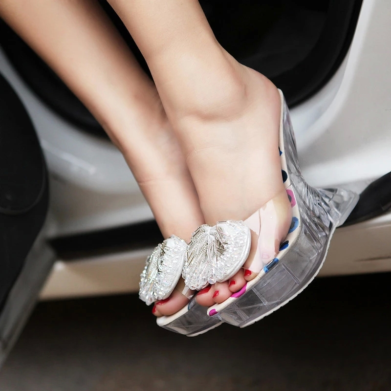 511f26aa9 Fashion Summer Women S Wedges Transparent Glass Slippers High Heeled Big  Flower Cute Rhinestone Shoes Fashion Flip Flops S2219