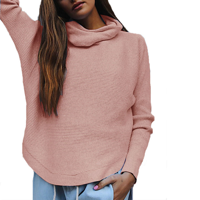 2017 Turtleneck Sweater Women Pink Autumn Winter Sweater Female ...