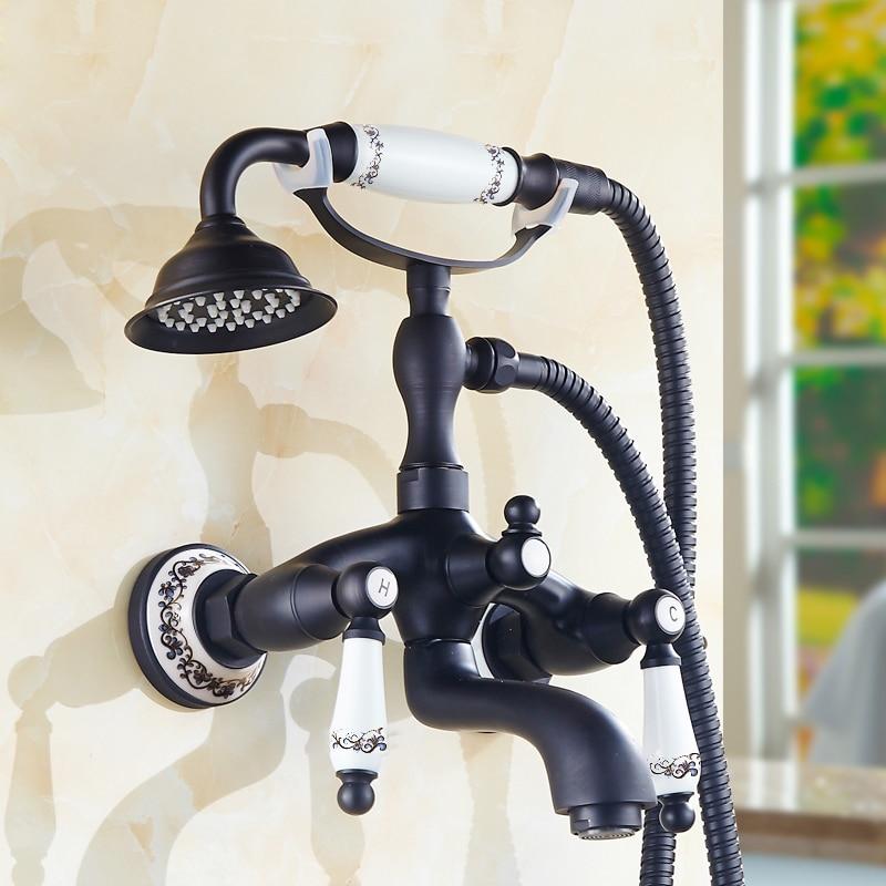 BAKALA Black Antique Brass Wall Mount Telephone Euro Bath Tub Faucet Mixer Tap With Handheld Spray Shower GZ016