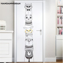 цена на 1PC Cartoon Animals Stand In A Row Wall Stickers For living Room Bedroom Kindergarten DIY Creative Decorative wall sticker