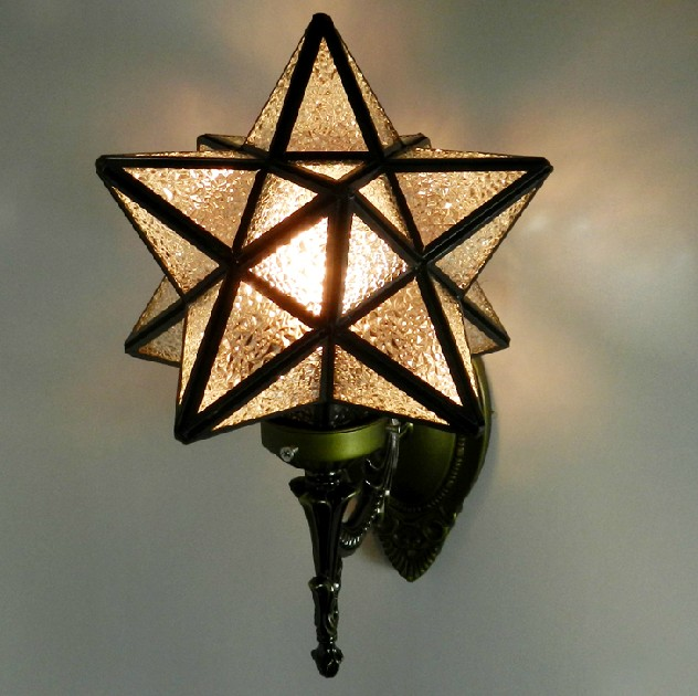 Romantic glass five pointed star wall lamp bed lighting child real romantic glass five pointed star wall lamp bed lighting child real wall lamp mirror in led indoor wall lamps from lights lighting on aliexpress aloadofball Image collections