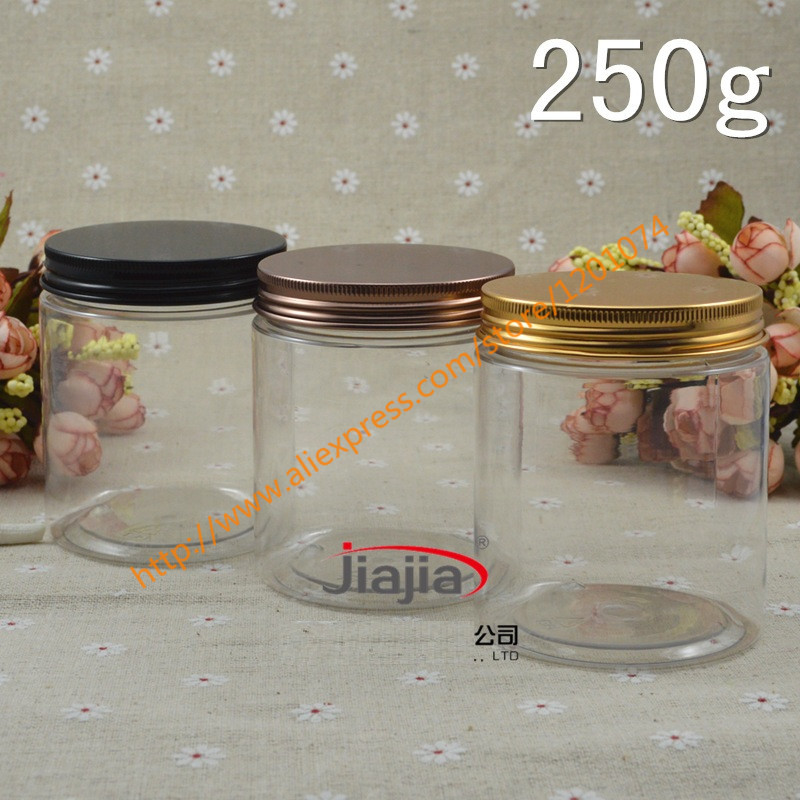 250g PET clear Cream Jar with gold bronze black aluminum Cap Makeup Tool 250ml Face Mask