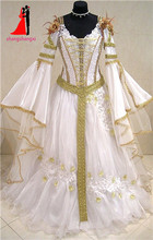 Dubai Muslim White Gold Medieval Wedding Dresses 2017 Long Flare Sleeves Organza Lace Appliques Bridal Gown Robe De Mariage