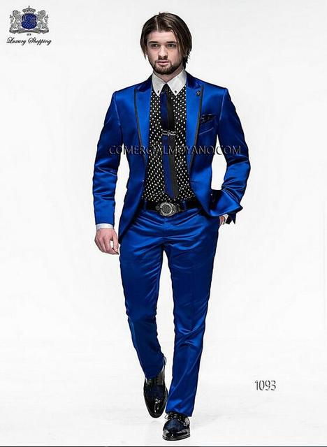 Online Shop 2017 Men Slim Fit Suits Groom Tuxedos Royal Blue Best ...