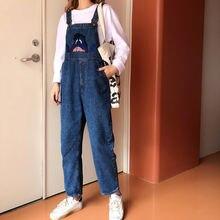 Женский джинсовый комбинезон с высокой талией свободного покроя
