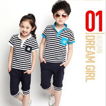 2015 new spring summer children sports suit unisex clothing hot sale boy girl twin clothes set