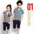 2015 nova primavera verão crianças terno dos esportes de roupas unissex venda quente da menina do menino roupas gêmeas conjunto novos varejos frete grátis
