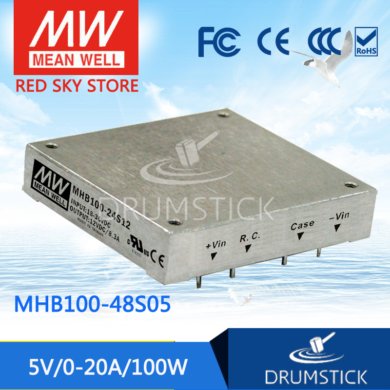 цена на Hot sale MEAN WELL MHB100-48S05 5V 20A meanwell MHB100 5V 100W DC-DC Half-Brick Regulated Single Output Converter
