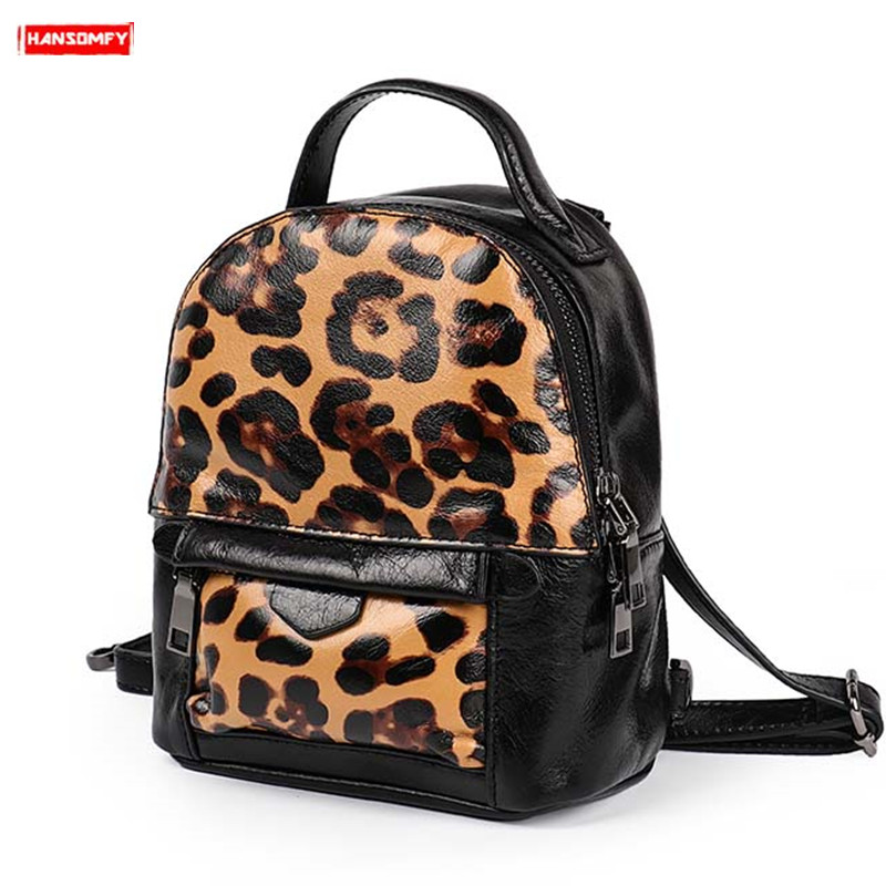 2019 New tide mini Genuine leather Women backpack female shoulder bag fashion personality retro leopard soft leather backpacks2019 New tide mini Genuine leather Women backpack female shoulder bag fashion personality retro leopard soft leather backpacks