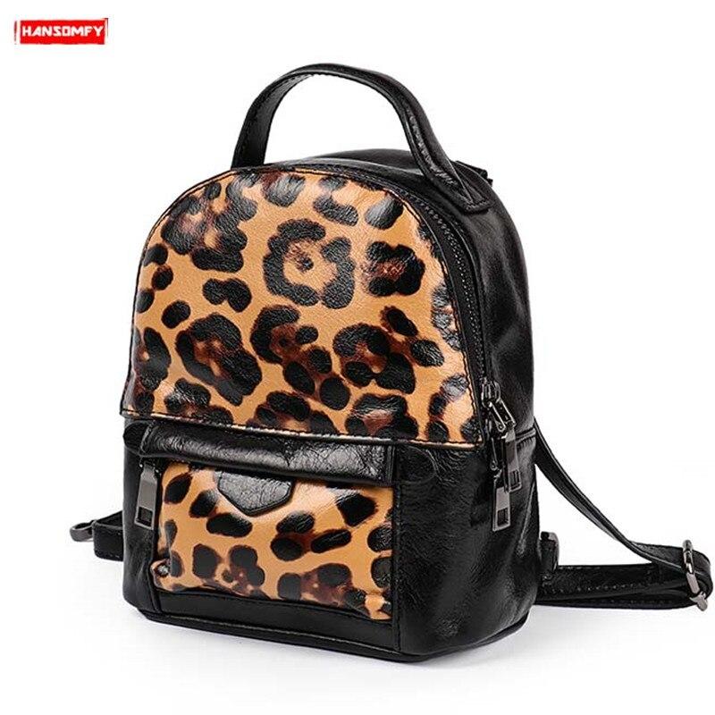 2019 nouvelle marée mini en cuir véritable femmes sac à dos femme sac à bandoulière mode personnalité rétro léopard en cuir souple sacs à dos
