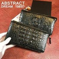 Мужской кошелек, черный кошелек из натуральной кожи аллигатора, классический дизайн, большая сумка конверт с черепами, мужские роскошные ко