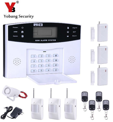 YobangSecurity Wireles Home GSM Security Alarm System Metal Remote Control Door Window Sensor PIR Motion Detector Wired Siren wireless motion door sensor detector 3 remote control home security burglar alarm system more stable than gsm alarm system