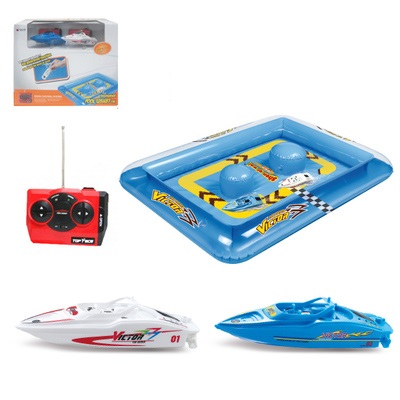 2pcs Mini speed racing rc boats and Inflatable pool toys for children kids radio wireless electric remote control boat indoor commercial sea inflatable blue water slide with pool and arch for kids
