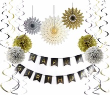 9pcs/Set Birthday Decor Gold Tissue Paper Tassel Pompoms Happy Banner Baby Shower Party Decoration Favor Supplies