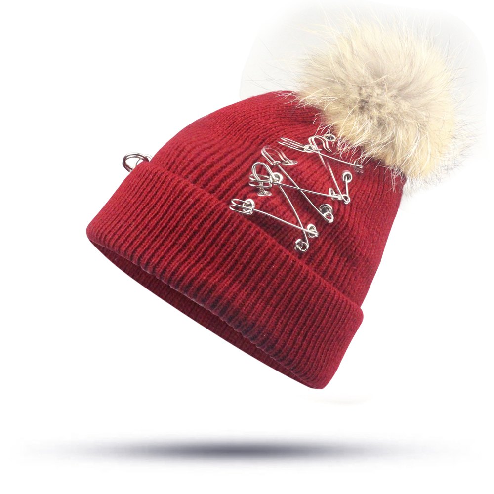 Hats Female Tricyclic Pin Hat Winter Beanie Women's Hat For Girls Pompom Lady Autumn Winter Knitted Beanies Bonnet Skullies Caps aetrue winter knitted hat beanie men scarf skullies beanies winter hats for women men caps gorras bonnet mask brand hats 2018