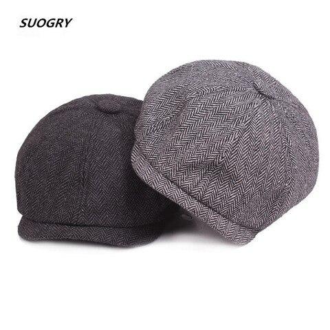 2018 New Tweed Gatsby Newsboy Cap Men Autumn Winter Hat Golf Driving Flat Cabbie Flat Berets Hat Peaky Blinders Hat Bone Unisex Pakistan