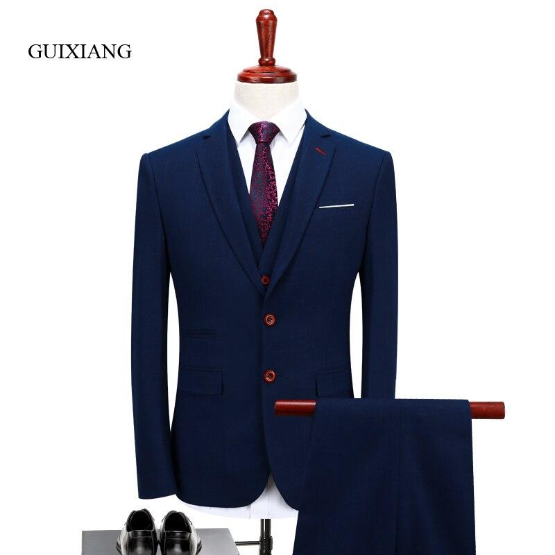 Новинка 2017 сезона стиль мужской бутик костюм высокое качество деловая Повседневная однобортный мужской Solid Slim костюмы Большие размеры S-4XL