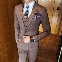 Elegant Men Suits 2018 New Vintage Classic Suit Pink Coffee Grey Suit Vestito Uomo Smoking Masculino Banquet Wedding Prom Suit