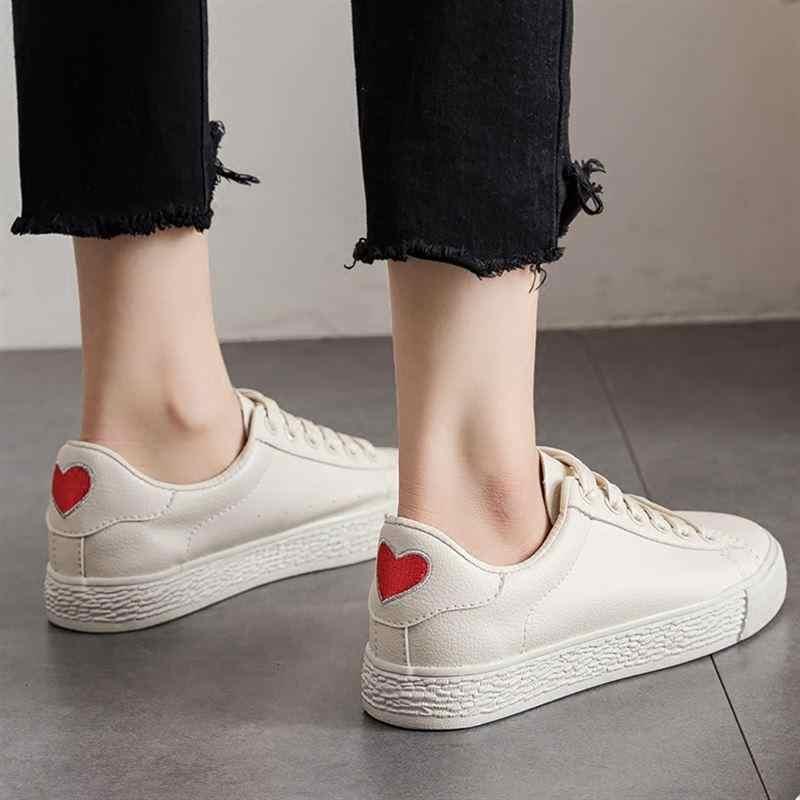 Женские кроссовки на плоской подошве BODENSEE, Белые Повседневные кроссовки на вулканизированной подошве, со шнуровкой, для студентов, на лето