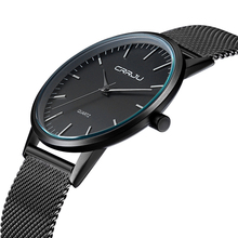 Top Brand Luxury Men's Watches Casual Black dial ultra thin stainless steel Mesh strap quartz watch men clock male gift