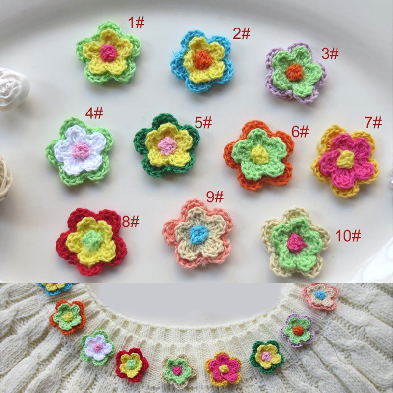 60PCS/lot Handmade Woolen Yarn Crochet Knitted Flower Applique Patchwork DIY Needlework Sewing Accessories Cloth Paste 353