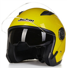 Double lens open face motorcycle helmet