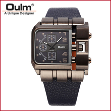 New Design Luxury Brand Oulm 3364 Men s Large Square Dial Outdoor Analog Wrist Watch Leather