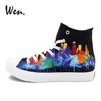 Wen Custom Hand Painted Shoes Black Canvas Colorful Painting Design Houston City Skyline Graffiti Shoes High
