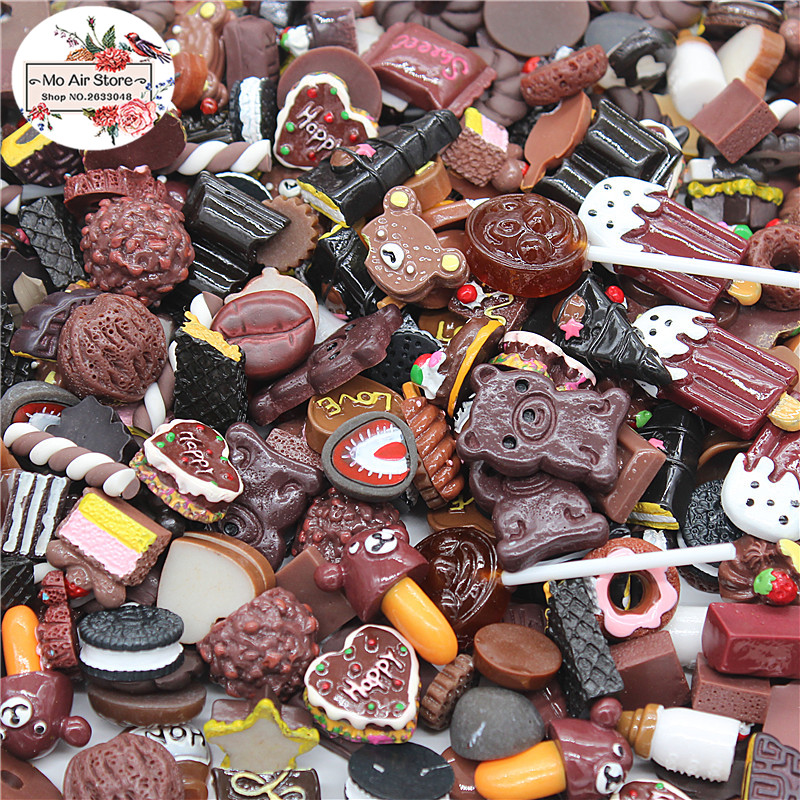 mix design dessert Cartoon Chocolate color 100pcs Resin Flat back Cabochon Art Supply Decoration Charm Craft