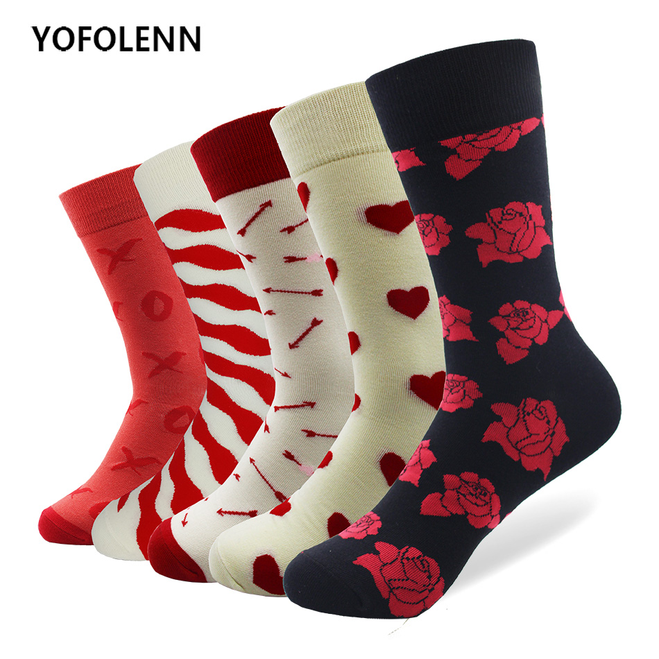 Trustful 1 Pair Drop Shipping Winter Spring Happy Socks 2018 Cotton Men Crew Skateboard Socks Funny Pattern Wedding Socks Gift Without Return Men's Socks