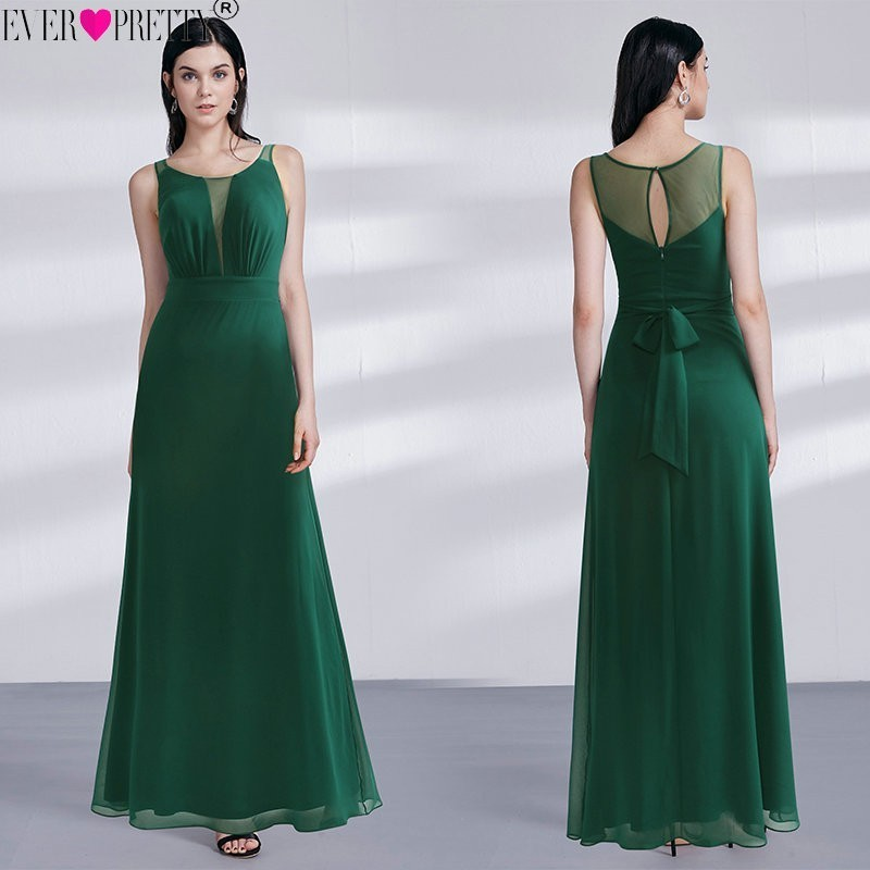 2020 Vestido Novia Ever Pretty EZ07477DG Elegant Dark Green A Line Long Mother Of The Bride Dresses Illusion Wedding Party Gowns