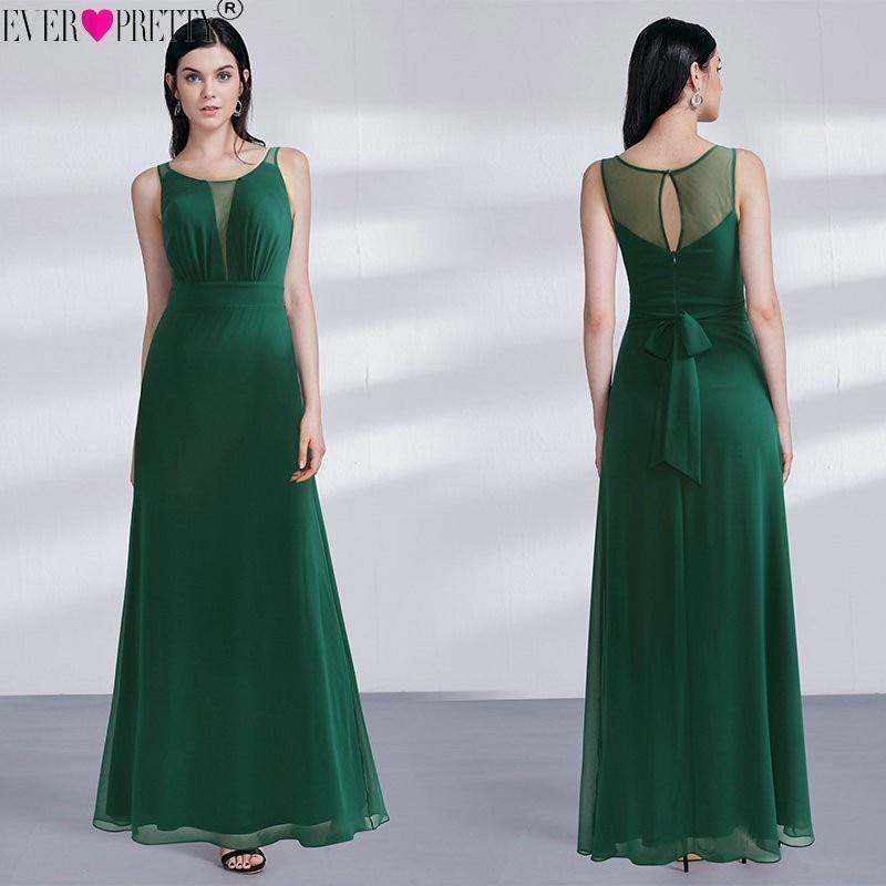 2020 Vestido Novia Ever Pretty EZ07477DG Elegant Dark Green A Line Long Mother Of The Bride Dresses Illusion Wedding Party Gowns