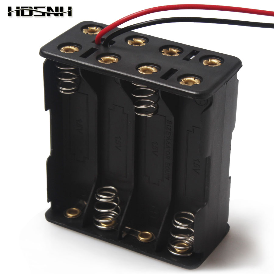 1PCS 8 x AAA 12V Battery Holder Case Double Side Spring Battery Holder With Wire Lead Back By Back Plastic Battery Box AAA dhl ems 10 50pcs 2 x c size cell battery holder box 3v case with wire lead um 2x2 a1