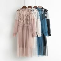 2017 Autumn New Female Flower Sweet Gauze Lace Pressure Pleated One Piece Dress Women S Waist