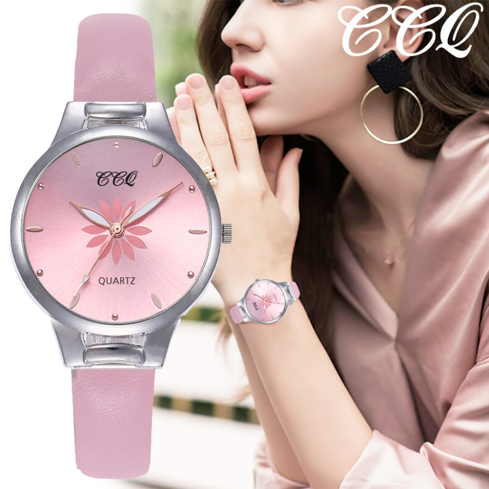 Hot Women's Quartz Wristwatches Luxury Silver Popular Pink Dial Flowers Metal Ladies Leather Strap Clock Fashion Wrist Watch @50