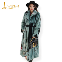 LVCHI Winter 2017 Imports Swan Velvet Milk Flower Mink Coat Real Mink Fur Coat Natural Fur With Sashes Women's X Long Mink Coat